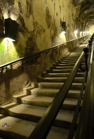 Les 116 marches pour accéder aux Caves Pommery