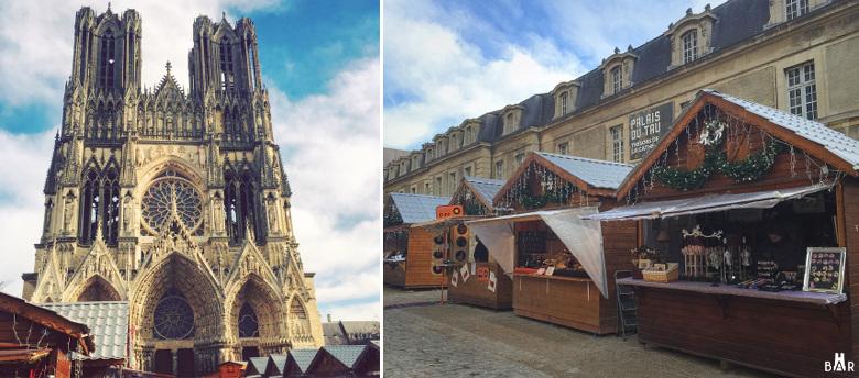 Les chalets du Village de Noël autour de la cathédrale de Reims